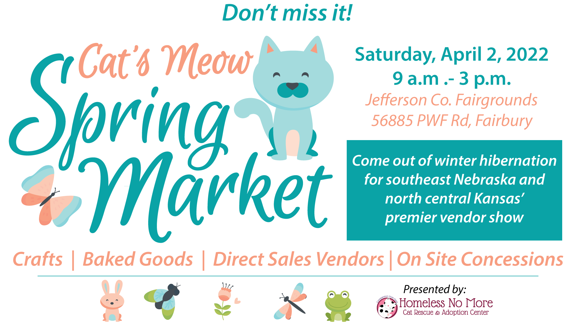 Don't Miss Cat's Meow Spring Market on Sat. April 2, 2022 at the Jefferson County Fairgrounds in Fairbury, NE